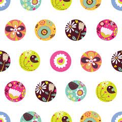 Summer polka dot. Flowers seamless pattern.