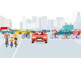 Autos und Radfahrer in der Stadt, Illustration - 166689823