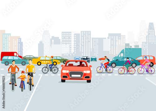 Fridge magnet Autos und Radfahrer in der Stadt, Illustration