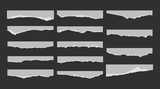 A set of 14 torn pieces of paper. Detail traced edges with villi paper. Vector illustration. - 166702038