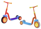 Two cute color kick scooter. Push scooter isolated on white background. Eco transport for kids.  illustration.