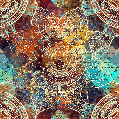 Vector square background. Mandala round decorative ornament pattern. - 166704832