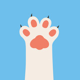 Cat paw with nails. Cat foot paw isolated on background. Vector stock.