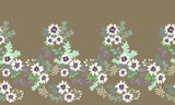 Seamless folk border in small wild flowers. Country style millefleurs. Floral meadow background for textile, wallpaper, pattern fills, covers, surface, print, gift wrap, scrapbooking, decoupage.
