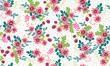 Seamless folk pattern in small wild flowers. Country style millefleurs. Floral meadow background for textile, wallpaper, pattern fills, covers, surface, print, gift wrap, scrapbooking, decoupage. - 166713455