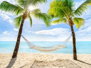 Urlaub am Palmenstrand mit Sonne und Hängematte © eyetronic