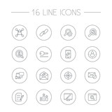 Set Of 16 Search Outline Icons Set.Collection Of Columns, Block, Cost Per And Other Elements. - 166716454