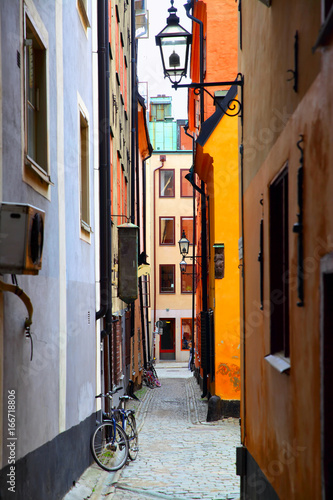 Staande foto Stockholm Old side street in Stockholm