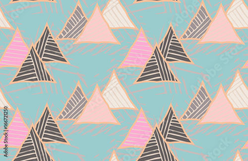 Triangles striped diagonal on blue - 166721250