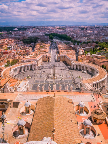 Fotobehang Purper Aerial view of St.Peter's Square, Vatican City, Rome, Italy.Piazza Pietro.