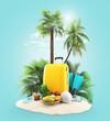 Valigia da vacanza viaggio su isola con palme