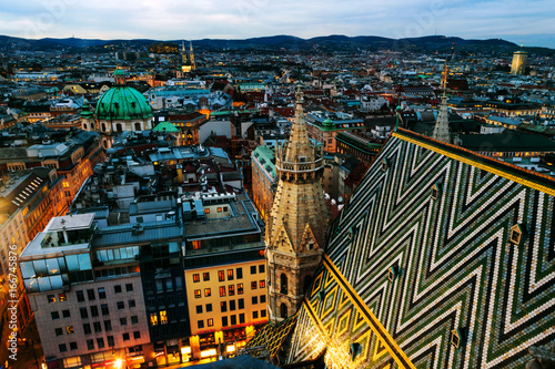 Aerial view of the night Vienna, Austria with illuminated buildings