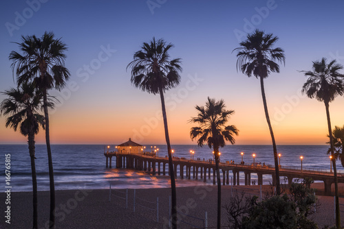 Manhattan Beach Pier at sunset, Los Angeles, California