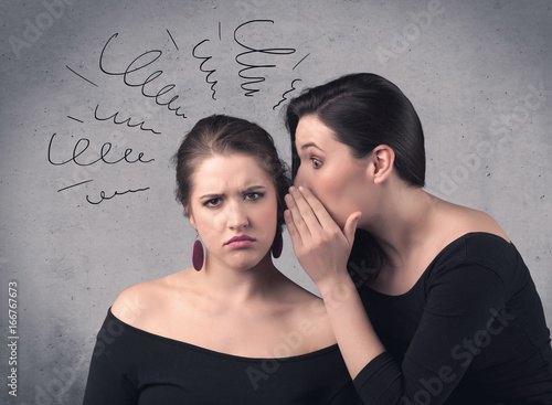 girl telling secret things to her girlfriend Poster