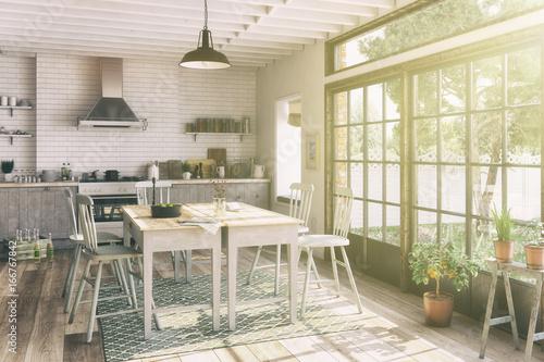 Skandinavische, nordische Küche - Esszimmer - Wohnung - Retro Look - 166767842