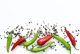 Food background, red and green chili pepper on white background - 166768878