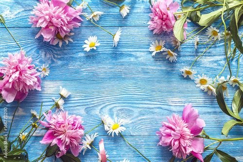 Daisies and pink peony on blue wooden background.