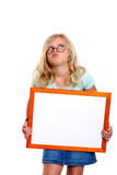 funny girl with round glasses showing white sign