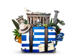 Greece, vintage suitcase with Greece landmarks