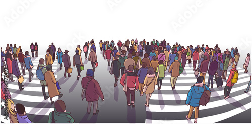 Illustration of busy street crossing in perspective
