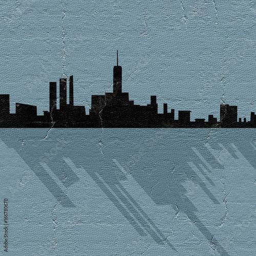 Sticker city silhouette