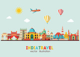 India skyline. Vector illustration - stock vector