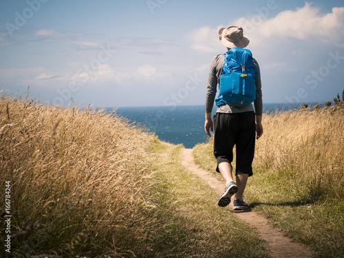 man walking on Camino de Santiago