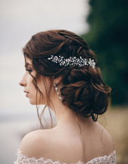 Wedding hairstyle. Beautiful hairpin.  Bride's coiffure © jozzeppe777