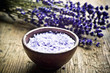 Quadro Lavender herb and salt like a concept for wellness, care about body, meditation, relax, spa,