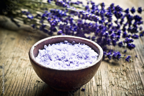 Lavender herb and salt like a concept for wellness, care about body, meditation, relax, spa,