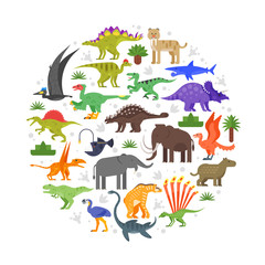 round composition of prehistoric animals icons