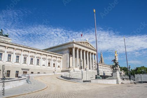 Detail of Austrian parliament building in Vienna, Austria.