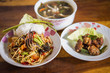 papaya salad. Mushroom soup. Fry pork ribs - 166803653