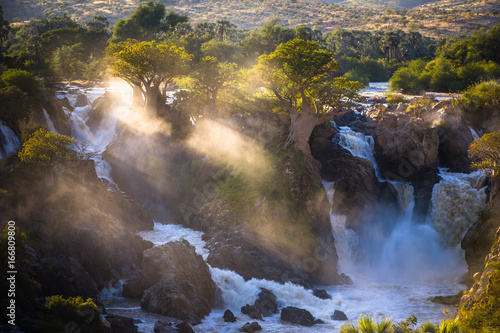 Papiers peints Baobab Misty sunrise on Epupa falls - Kunene river - Namibia - Angola border
