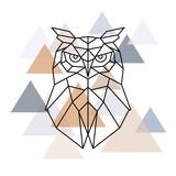 Owl geometric head. Scandinavian style. Vector illustration.