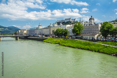 View of Salzach, where Salzburg is located, Austria