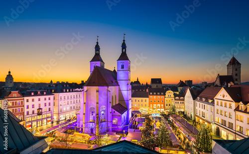 Spoed canvasdoek 2cm dik Wanddecoratie met eigen foto Weihnachtsmarkt in Regensburg, Deutschland
