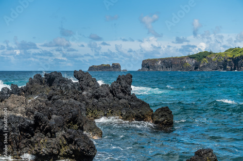 Foto op Canvas Blauw Keanae Point Shoreline 5