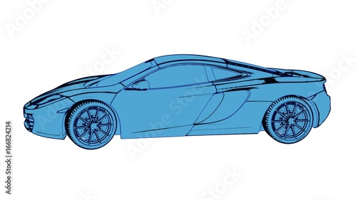 Fotobehang F1 Sports , race car, 3d rendering as cartoon pen, ink style. Side view