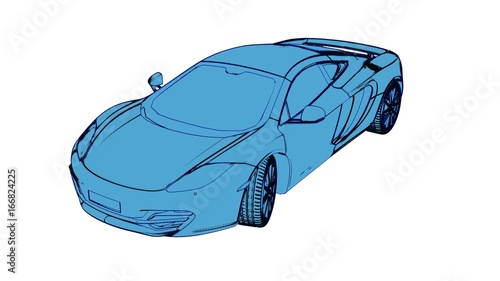 Sports , race car, 3d rendering as cartoon pen, ink style. Front view