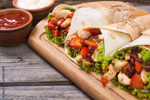 Mexican burrito with chicken