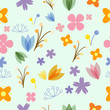 Vector pattern in symbol style with flowers and leaves. Gentle, spring floral background. - 166841620