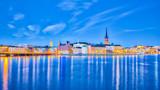 Panorama widoku Sztokholmu Pejzaż w nocy w Szwecji