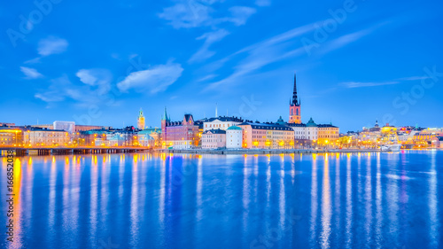 Poster Stockholm Panorama view of Stockholm cityscape at night in Sweden
