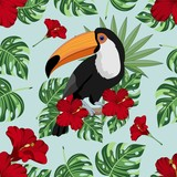Seamless background with tropical leaves, Toucan and flowers. Jungle. Vector illustration. - 166852652