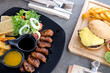 Breast duck steak with salad and French Fries and sauce - 166855076