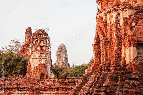 Ancient ruins of Ayutthaya, Thailand. Wat Mahathat Temple.