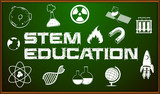 STEM education poster with icons on board - 166856818