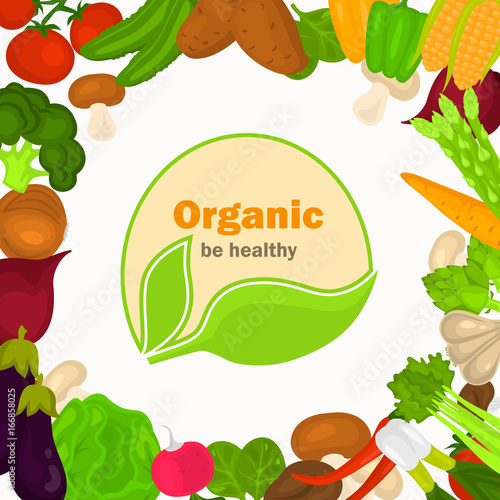 Color vegetables illustration on white background. Organic food logo in the middle for web and mobile design