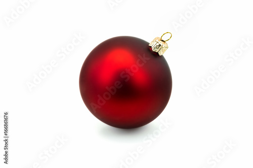 Leinwandbild Motiv Rote Weihnachtskugel isoliert
